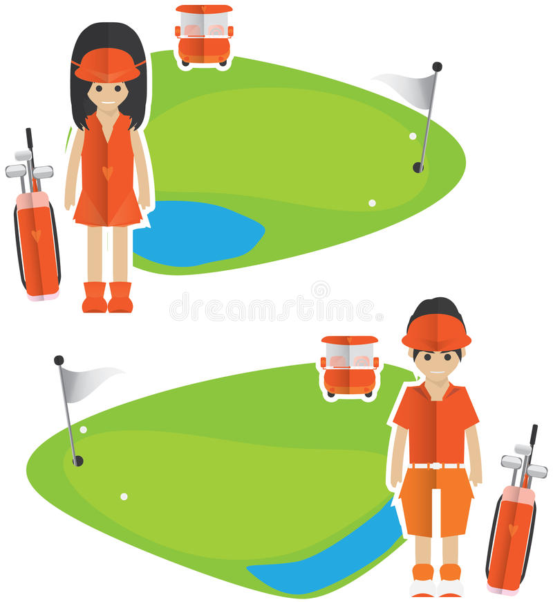 Golfbaner stock illustrationer