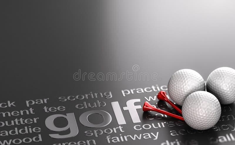 Golfbegrepp, bollar och utslagsplatser över svart bakgrund stock illustrationer