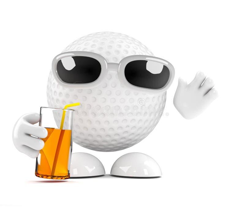 golfboll 3d på partiet stock illustrationer