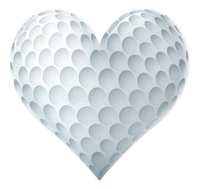 Golfboll i en hjärta Shape vektor illustrationer