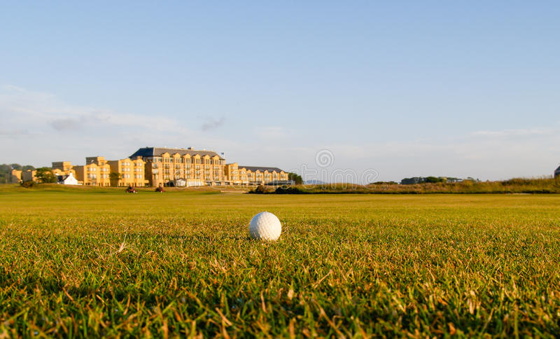 Golfboll ligger i farled. royaltyfria foton
