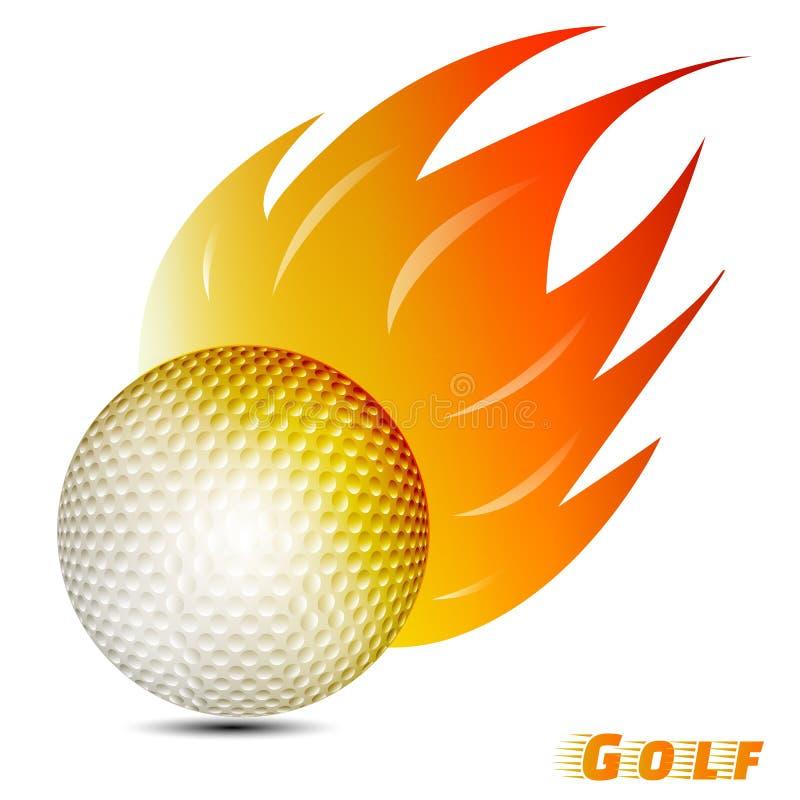 Golfboll med den röda signalen för orange guling av branden i vit bakgrund golfbolllogoklubba vektor illustration diagram vektor illustrationer