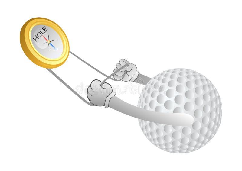 Golfboll med kompasset royaltyfri illustrationer