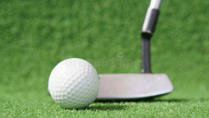 Golfboll med putter i bakgrunden på gröngräs arkivbild