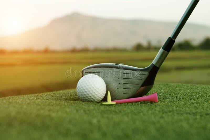 Golfboll och golfklubb i härlig golfbana på solnedgångbakgrund royaltyfri fotografi