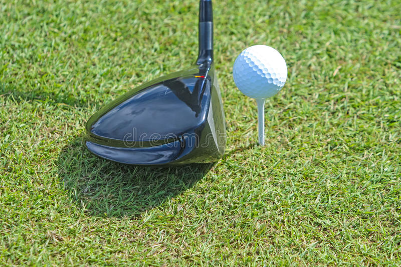 Golfboll och klubba i gräs royaltyfri bild