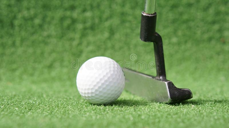 Golfboll och putter på gröngräs fotografering för bildbyråer