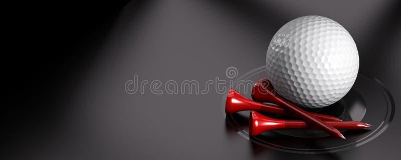 Golfboll och utslagsplats royaltyfri illustrationer