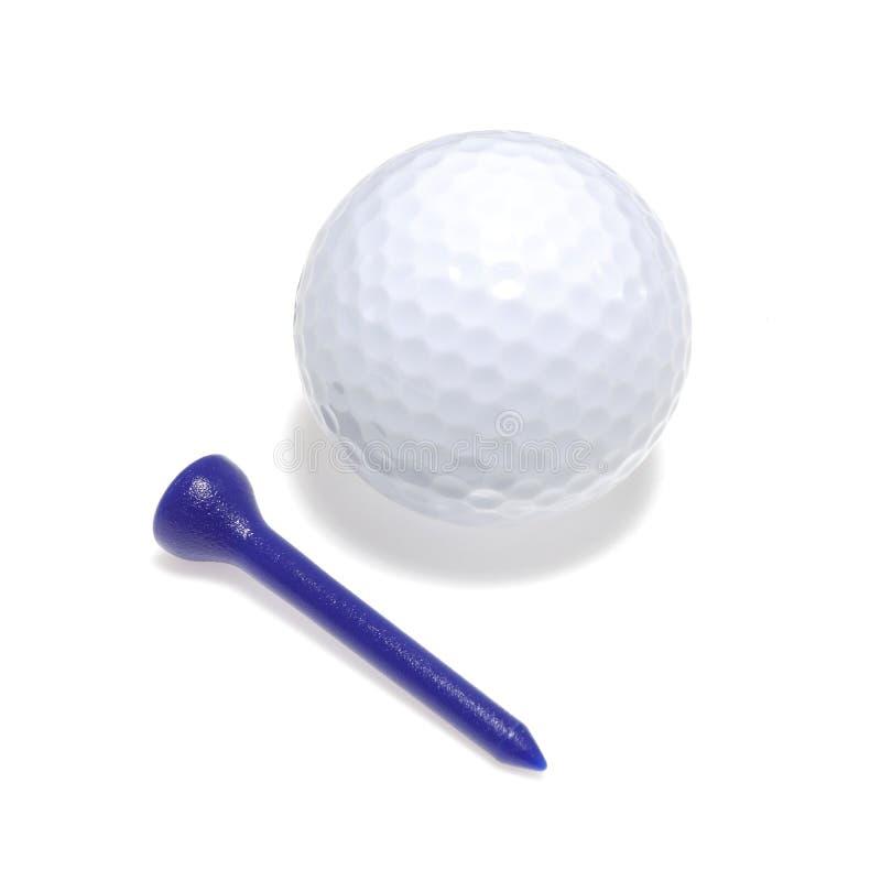 Golfboll och utslagsplats med droppskugga arkivbilder