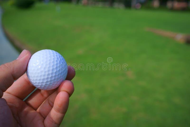 Golfboll och utslagsplats på grön kursbakgrund för golf arkivbild