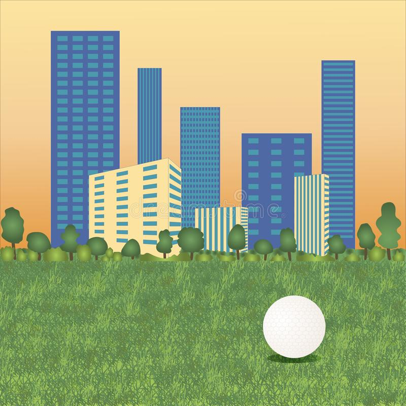 Golfboll på cityscape stock illustrationer