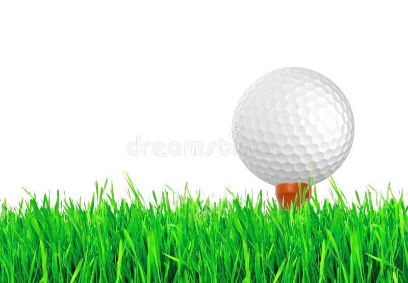 Golfboll på det gröna gräset av golfbanan royaltyfri fotografi
