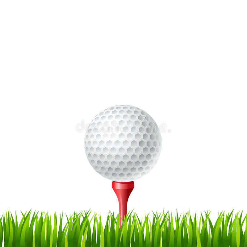 Golfboll på en utslagsplats stock illustrationer