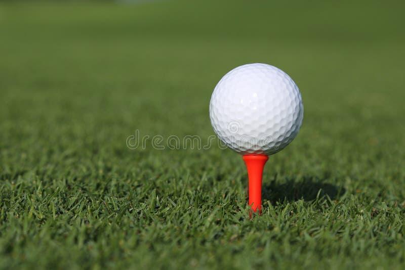 Golfboll på en utslagsplats arkivbilder