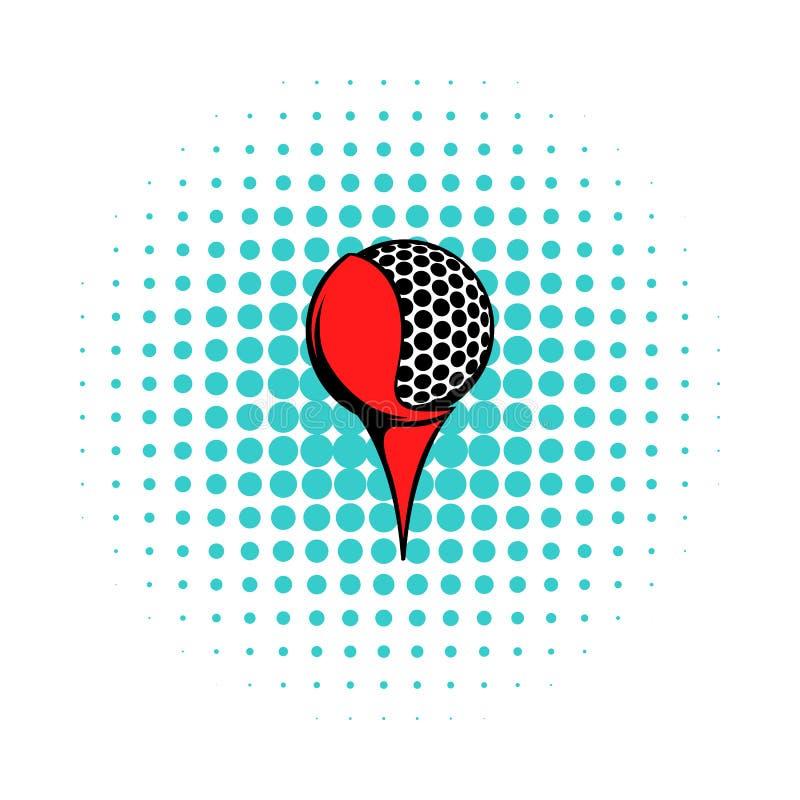 Golfboll på en utslagsplatssymbol, komiker utformar vektor illustrationer