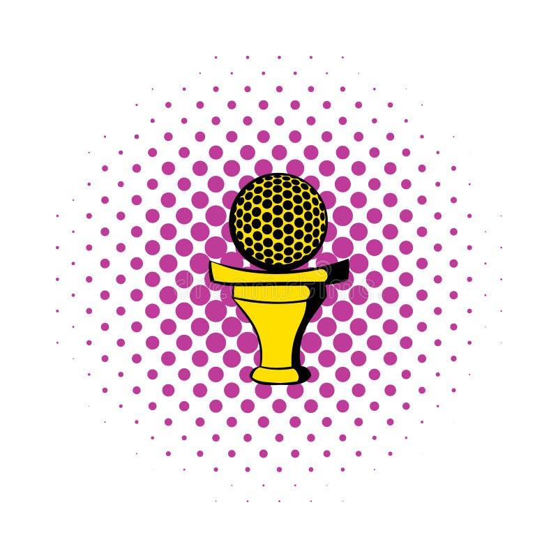 Golfboll på en utslagsplatssymbol, komiker utformar royaltyfri illustrationer