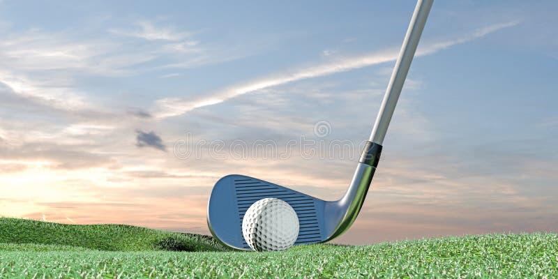 Golfboll på gräsplan stock illustrationer