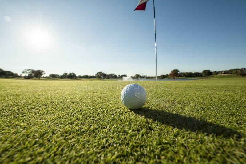 Golfboll på grön låg vinkel arkivfoto
