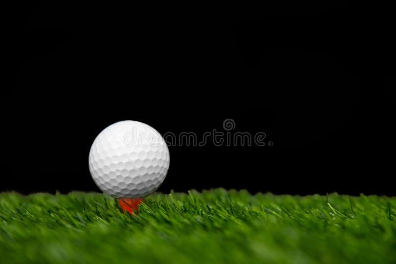 Golfboll på utslagsplatsen som är klar att vara skott royaltyfria bilder