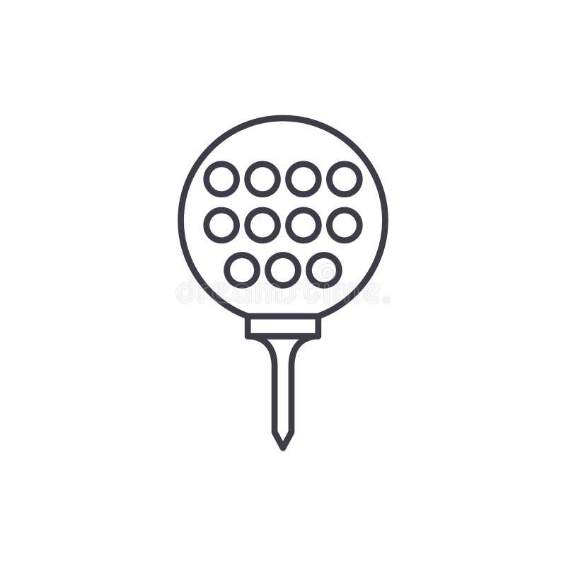 Golfbolllinje symbolsbegrepp Linjär illustration för golfbollvektor, symbol, tecken stock illustrationer