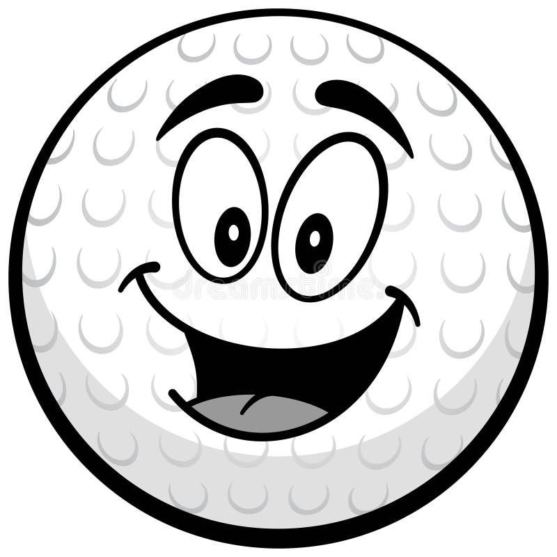 Golfbollmaskotillustration stock illustrationer
