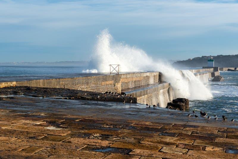 Golfbreker van de haven van heilige-Jean-DE-Luz, Frankrijk royalty-vrije stock foto