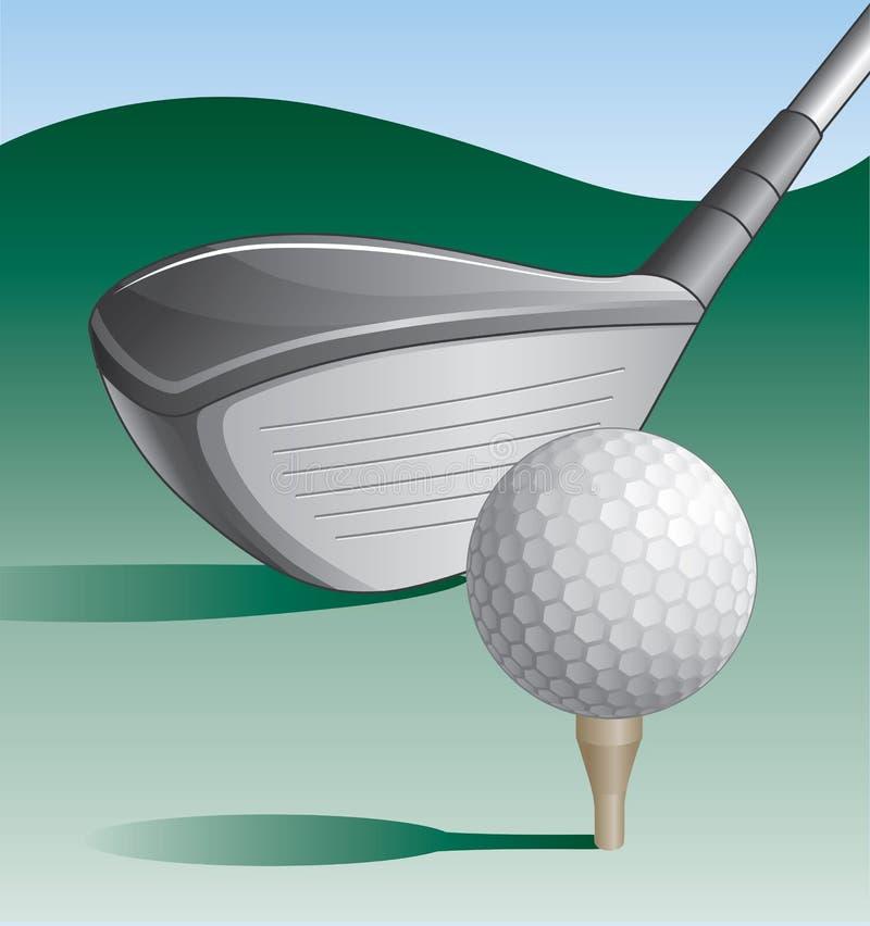 Golfclub en Bal stock illustratie