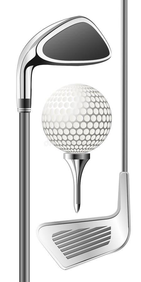 Golfclub en bal vector illustratie