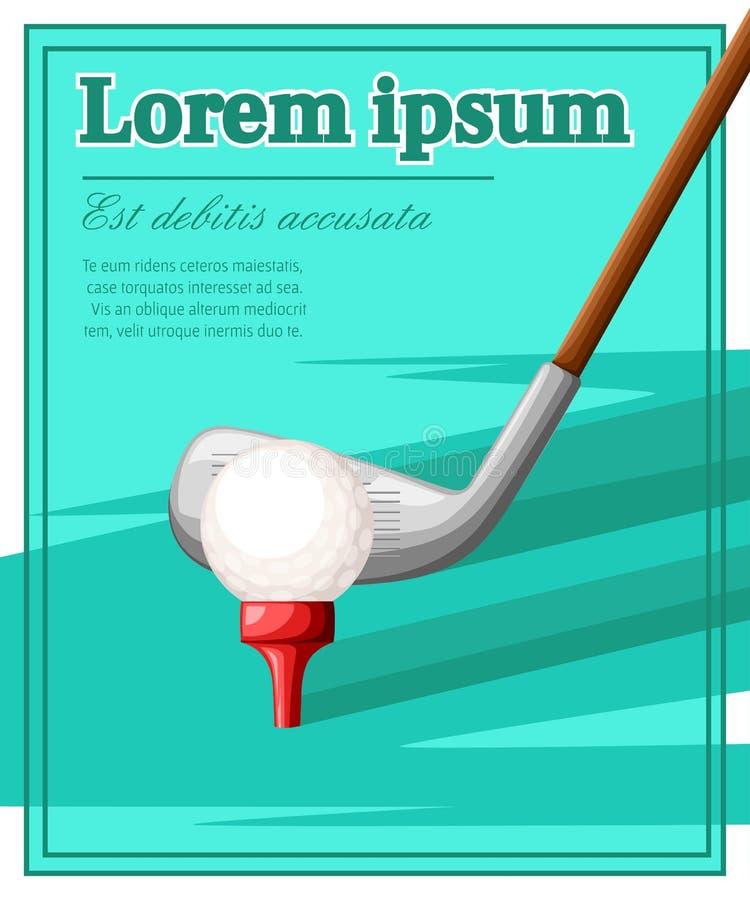 Golfclub en bal op rode T-stukillustratie met plaats voor uw die tekst op gekleurde achtergrond wordt geïsoleerd stock illustratie