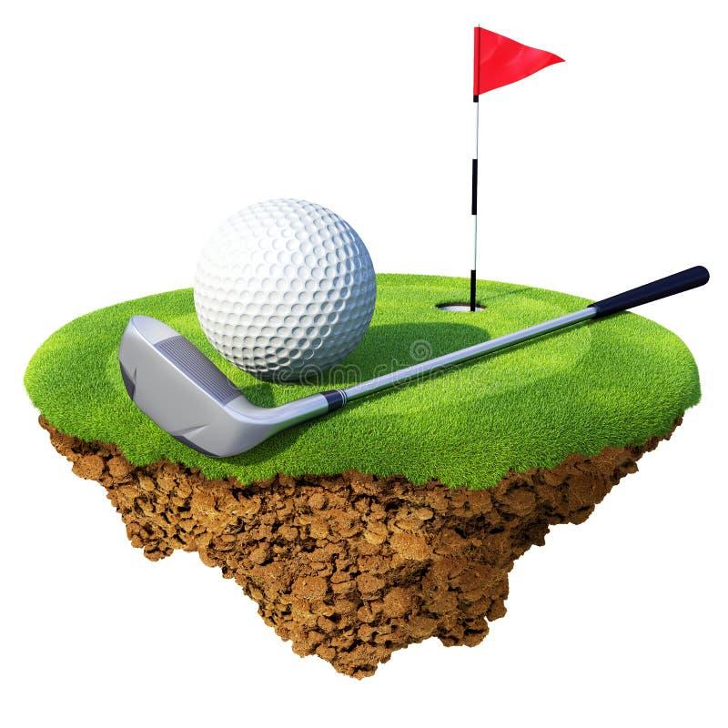 Golfclub, Kugel, flagstick und Loch lizenzfreie abbildung