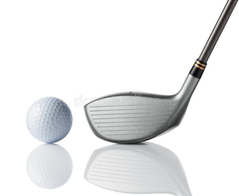 Golfclub met golfbal royalty-vrije stock afbeelding