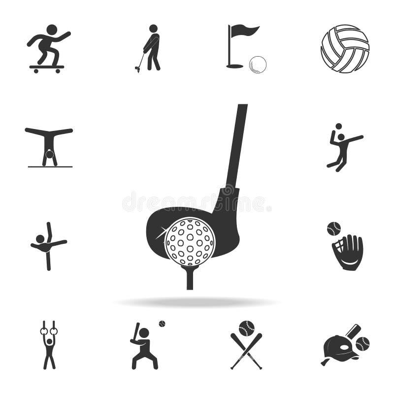 Golfclub- und Ballikone Ausführlicher Satz Athleten- und Zubehörikonen Erstklassiges Qualitätsgrafikdesign Ein des Sammlung ico lizenzfreie abbildung
