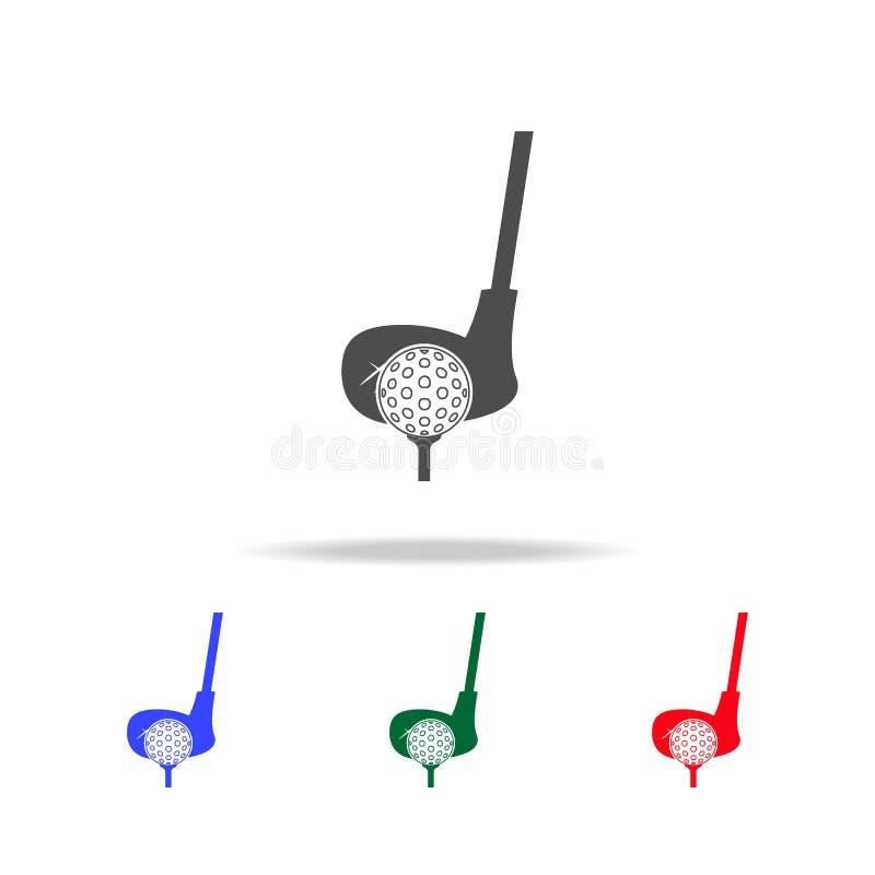 Golfclub- und Ballikonen Elemente des Sportelements in den multi farbigen Ikonen Erstklassige Qualitätsgrafikdesignikone Einfache lizenzfreie abbildung