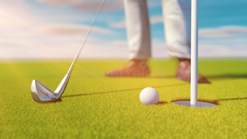 Golfclub und Golfball auf Gras Sonniger Tag vektor abbildung