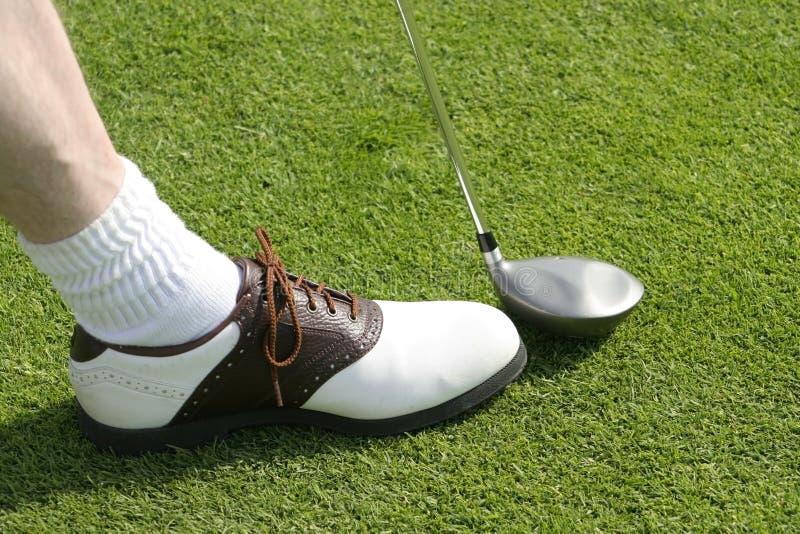 Golfclub und Schuh stockfoto