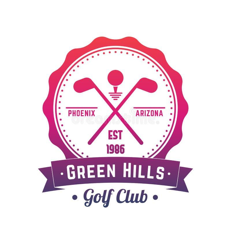 Golfclubembleem, embleem, vectorkenteken over wit stock illustratie