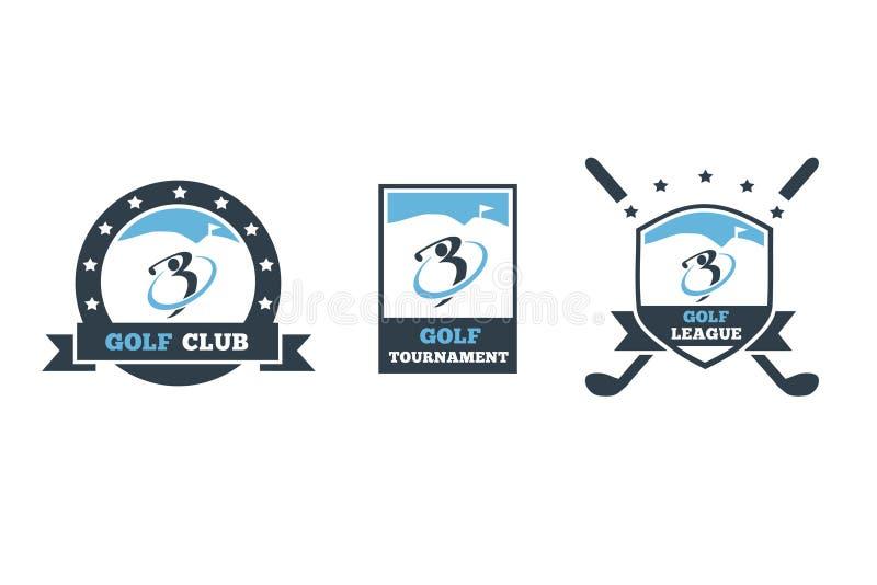 Golfclubembleem 3 reeks stock foto