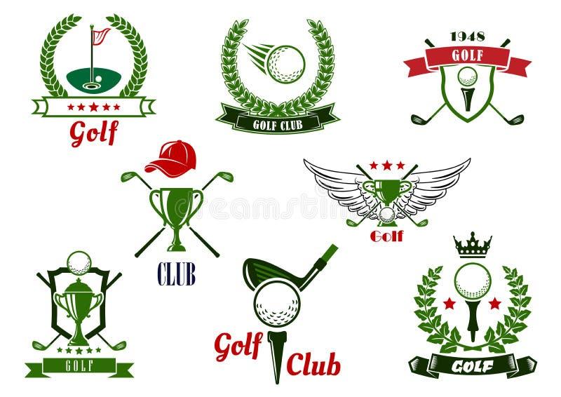 Golfclubembleme und -ikonen mit Spieleinzelteilen vektor abbildung
