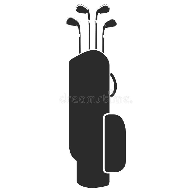 Golfclubtaschenschattenbild stock abbildung