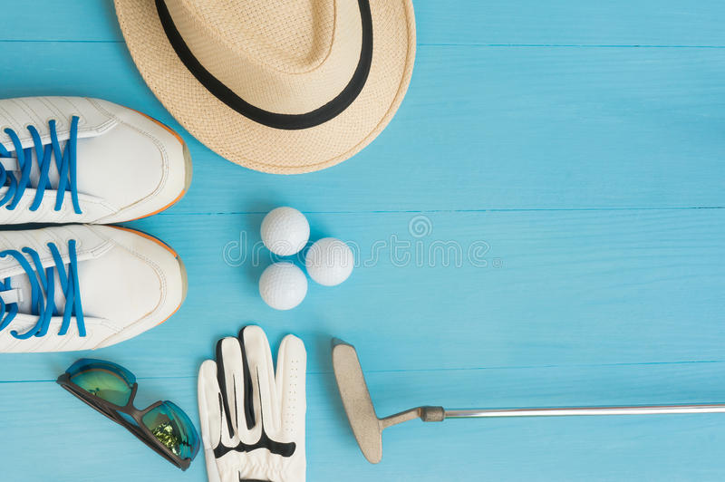 Golfconcept: vlak leg stock foto's