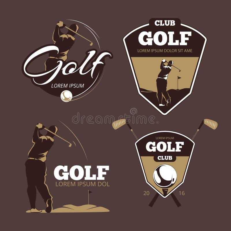 GolfCountryklub-Vektorlogoschablonen lizenzfreie abbildung