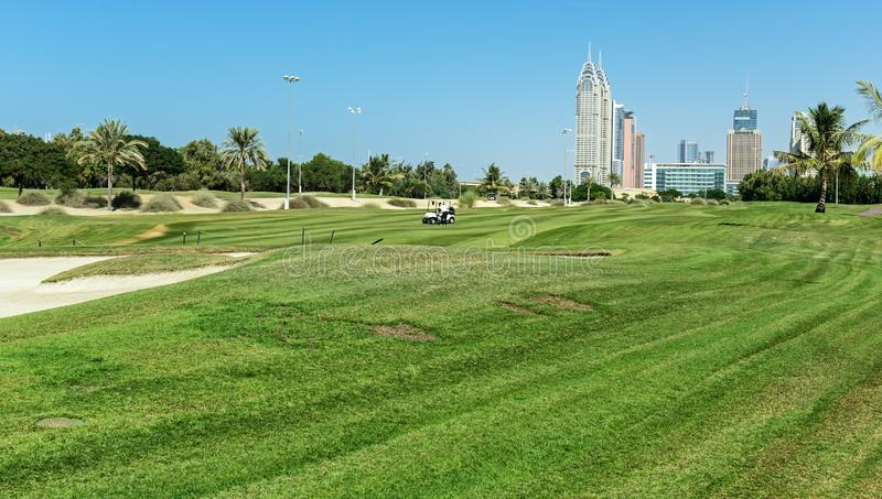 Golfcursus in Doubai royalty-vrije stock foto's