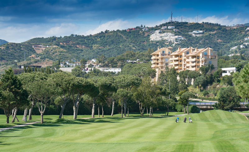 Golfcursus, Marbella op Costa del Sol, Spanje stock fotografie