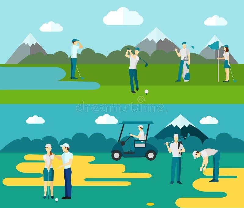 Golfcursus 2 vlakke bannerssamenstelling royalty-vrije illustratie