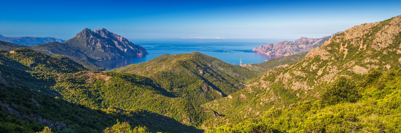 Golfe de Girolata from Bocca Di Palmarella, Corsica, France. stock photography