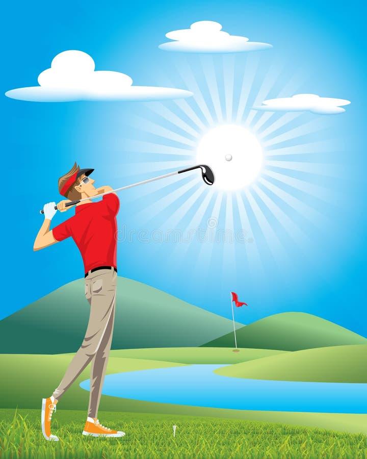 Golfe do jogo do jogador de golfe profissional no curso verde ilustração do vetor