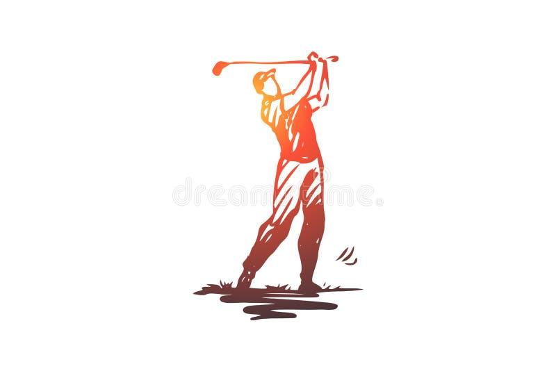 Golfe, golfing, jogo, jogo, conceito do equipamento Vetor isolado tirado mão ilustração royalty free