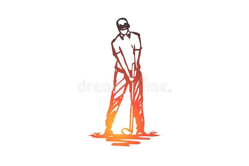 Golfe, jogo, jogador, jogador de golfe, conceito golfing Vetor isolado tirado mão ilustração royalty free