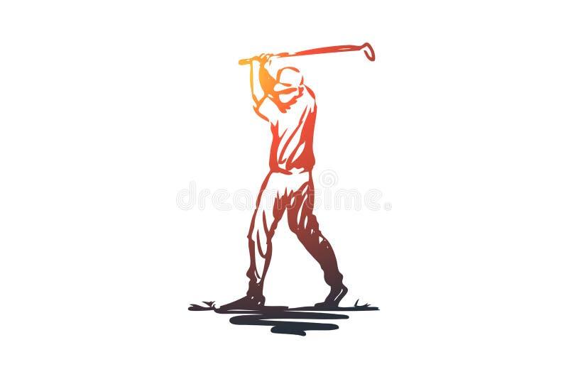 Golfe, jogo, treinamento, esporte, conceito golfing Vetor isolado tirado mão ilustração royalty free