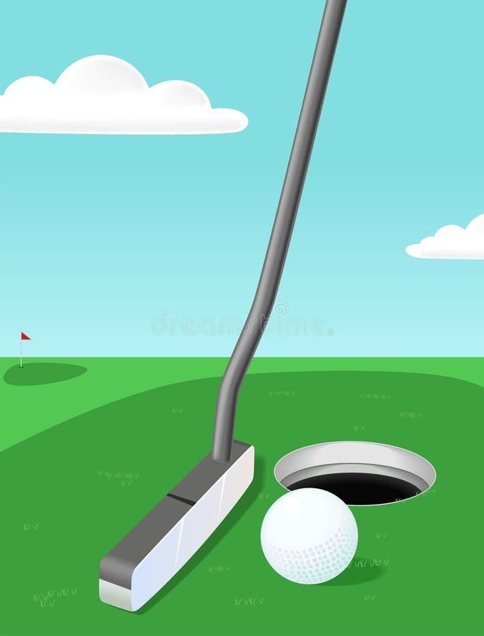 Golfe: putter e esfera ilustração royalty free